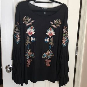 Anna Sui loves INC embroidered long sleeve blouse